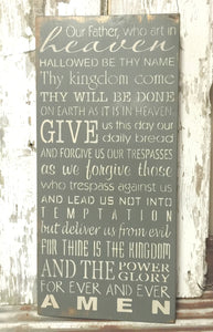 Rustic Wood Sign - Christian Wood Sign - The Lord's Prayer - Hand Painted Lord's Prayer - Christian Home Decor - Religious Home Decor
