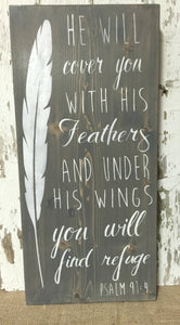 Christian Sign - Christian Wood Sign - Feather Sign - Wooden Feather Sign - Feather Home Decor - Christian Home Decor - Psalm Wall Hanging