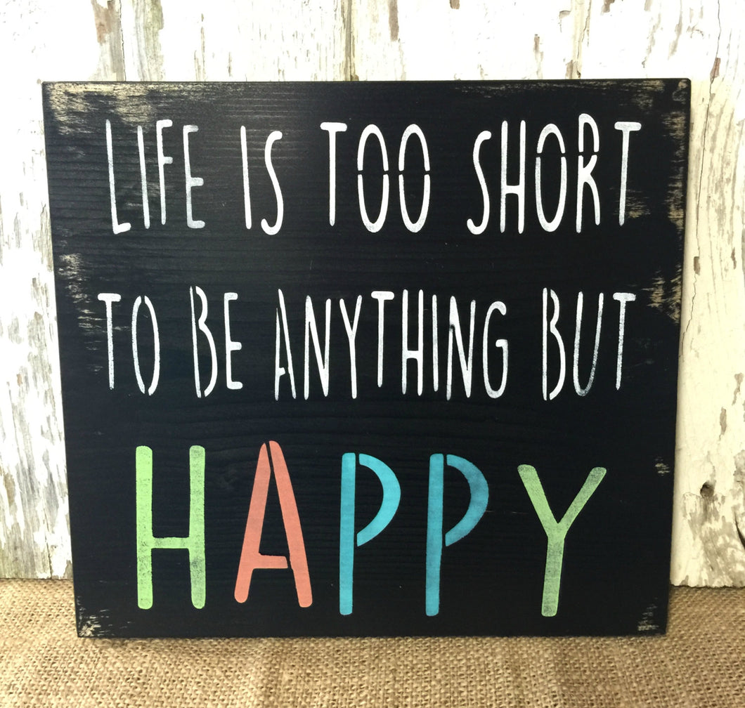 Happy Sign - Home Deocr - Wood Sign - Wooden Sign - Inspiration Sign - Rustic Decor - Rustic Wood sign - Be happy Sign - happy wood sign