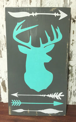 Deer and Tribal themed Wood Sign - Customize your Own Colors!