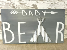 Nursery Sign - Nursery Wall Hanging - Wood Sign for Nursery - Woodland Nursery Decor - TeePee Decor - Baby Shower Gift - Baby Bear Sign