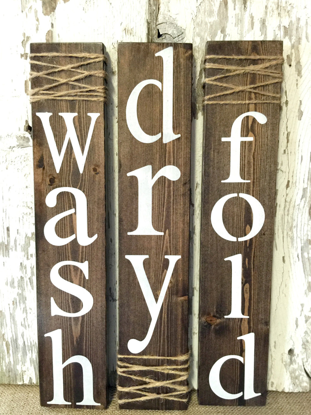Laundry Room Signs - Laundry Room Decor - Rustic Laundry Signs - Laundry Wall Hangings - Wood Laundry Decor - Wash Sign - Fold Sign-Dry Sign
