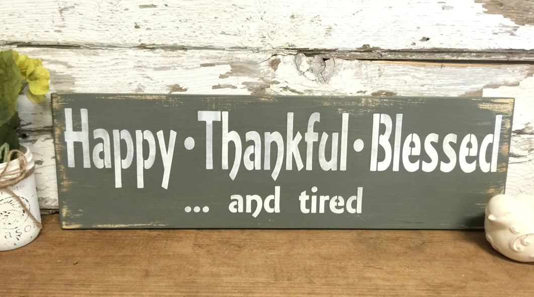 Hand Painted Wood Sign - Happy  Sign - Thankful Sign - Blessed Sign - Gift for Teacher - Wooden Wall Hanging - Rustic Wood Sign - Sign