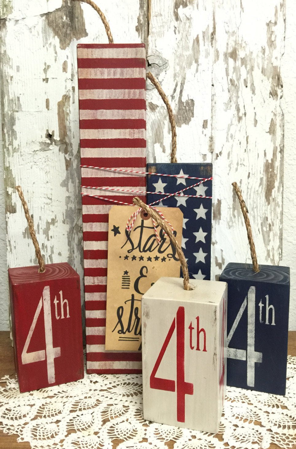 Fourth of July Decor - Fourth of July Decorations - Firecrackers - Primitive Decor - Rustic Home Decor - American Flag - Americana - Set of 3