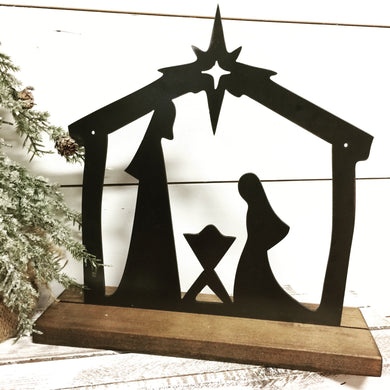 Metal nativity scene