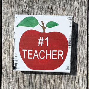 #1 Teacher Block - Apple - Small Shelf Sitter