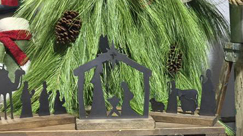 Christmas Metal Nativity Scene - Manger - Three Wise Men - Shepards - Donkey - Angel - Holiday Shelf Decor - Seasonal Winter Home Accents