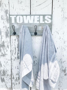 Towel Holder - Bathroom - Pool - Metal Hooks