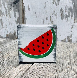 Watermelon Small Whitewash Shelf Sitter Block Summer Home Decor