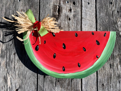 rustic wooden summer watermelon shelf mantle tabletop art decor