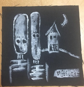 Bone Home On The Range. Hand Painted Patch