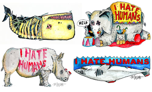 I HATE HUMANS - 8 STICKER PACK