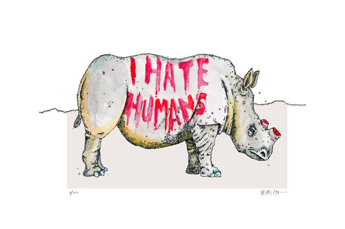 Rhino- I hate Humans - Limited Edition Giclee Print