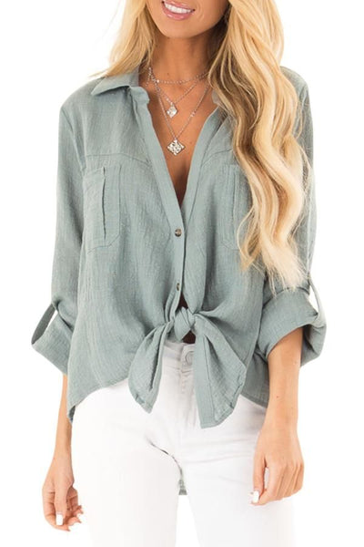 Green Button up Front Tie Top