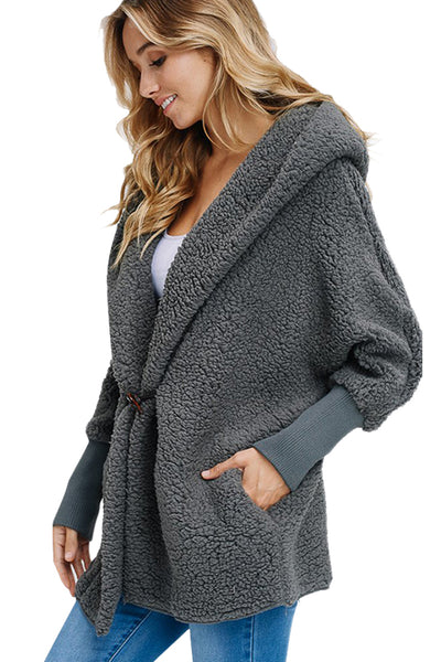 Grey Woolen Fur Horn Button Oversize Jacket