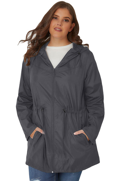 Grey Plus Size Pocket Parka Jacket