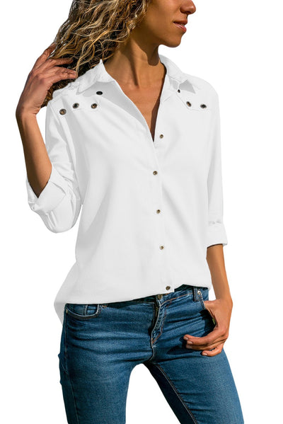 White Stylish Button Detail Long Sleeve Blouse