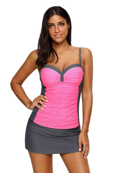 Rosy Grey Ruched Tankini and Skirted Swimsuit
