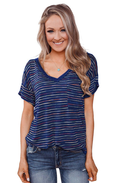 Blue Get The Party Started Striped Pocket Tee