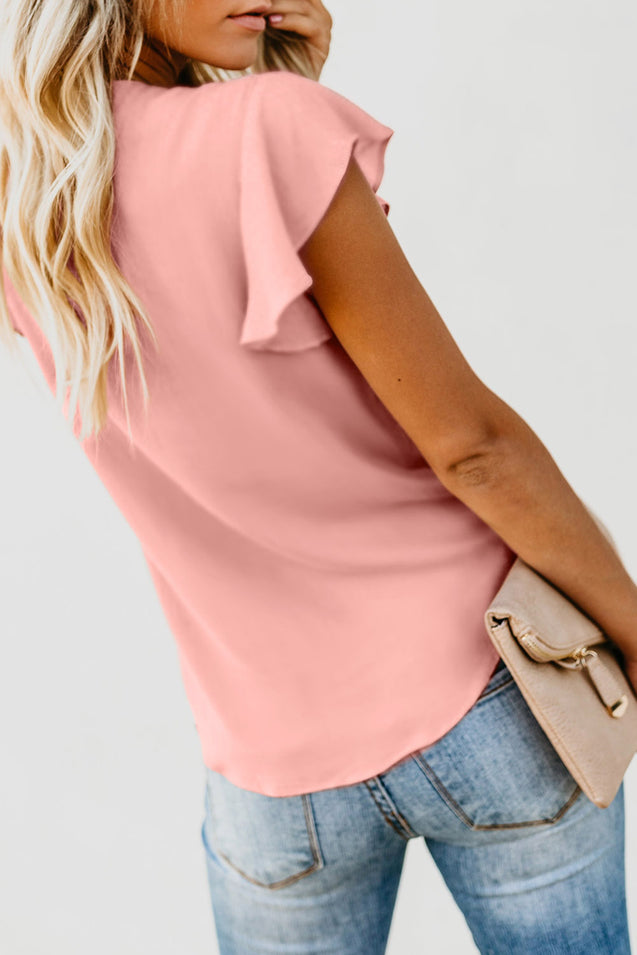Pink Button Down Tie Top