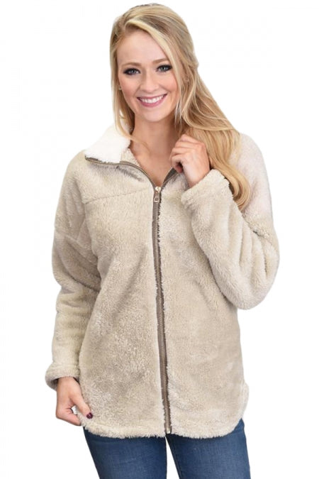 Apricot Lamb Fleece Zip Down Jacket