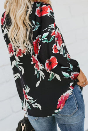 Black Floral Print Peasant Blouse