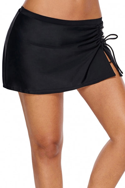 Black Ruched Side Vent Detail Swim Skirt
