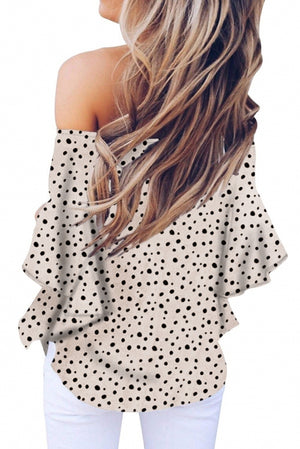 Cream Polka Dot 3/4 Bell Sleeve Off Shoulder Front Tie Knot Top
