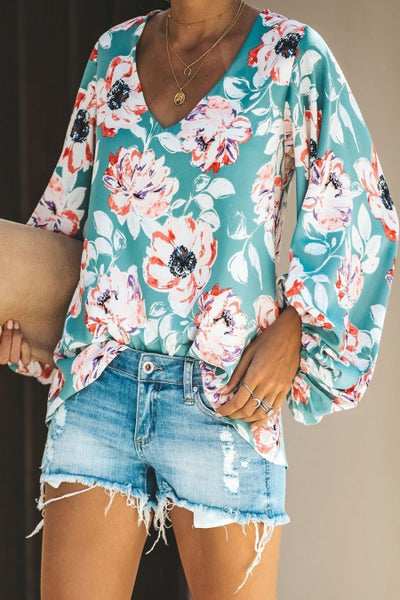 Multicolor Boho Print Balloon Sleeve Blouse
