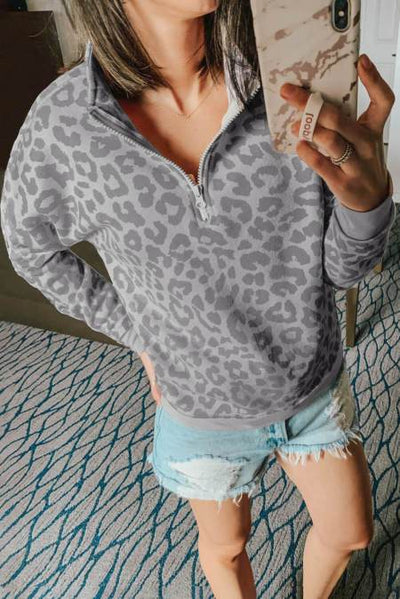 Gray Leopard Zipped Collar Sweatshirt