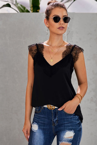Black One More Night Lace Cami Tank