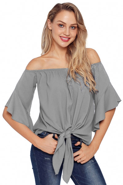 Grey Off The Shoulder Knot Front Top