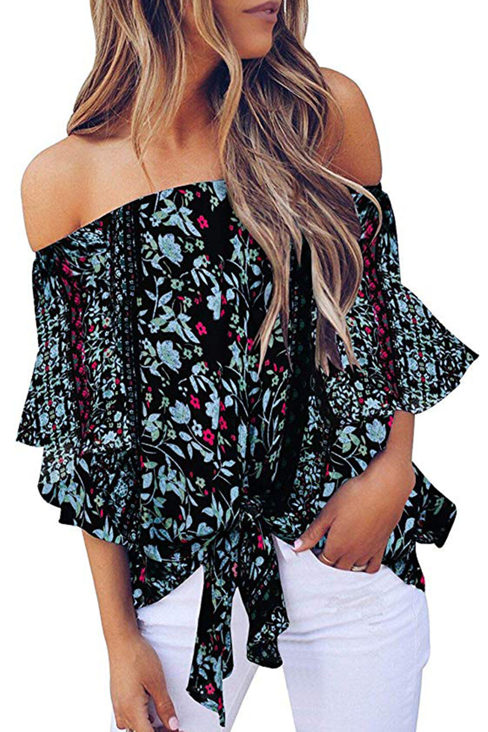 80ced13eb568b5 Black Off Shoulder Floral Tie Front High Low Chiffon Blouse - Lady ...