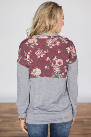 Floral Splice Grey Kangaroo Pocket Zip Collar Sweatshirt