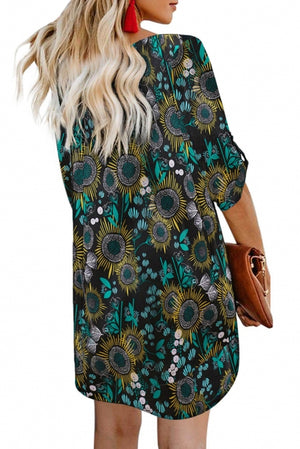 Black V Neck 3/4 Roll Sleeve Button Down Floral Dress
