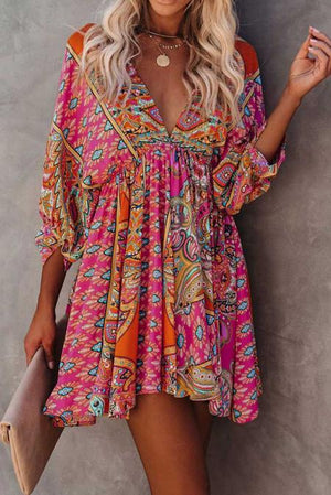 Multicolour V Neck 3/4 Sleeve Bohemian Vintage Print Mini Dress