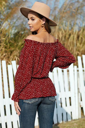 Red Polka Dot Off Shoulder Ruffle Long Sleeve Top