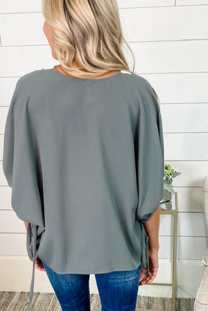 Grey V Neck Colorblock Dolman Top