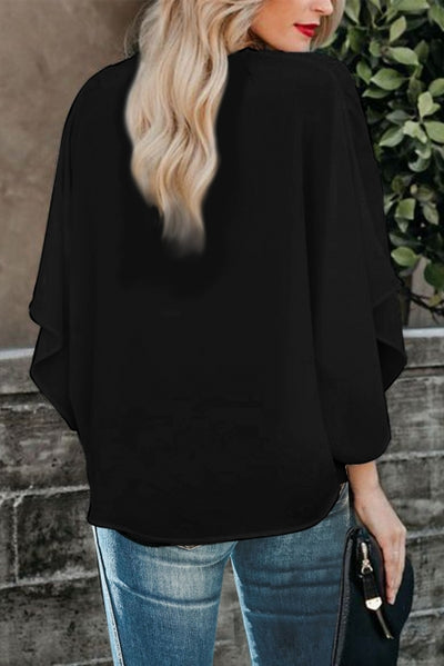 Black Fashion Contrast Color V Neck Blouse
