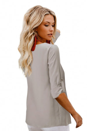 Light Grey Button Detail Roll up Sleeve Blouse