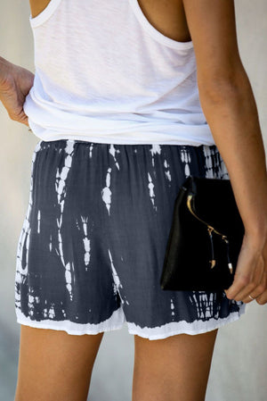 Grey Tie Dye Drawstring Casual Shorts