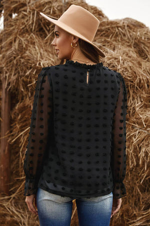 Black Polka Dot Lantern Sleeve Mesh Splicing Blouse