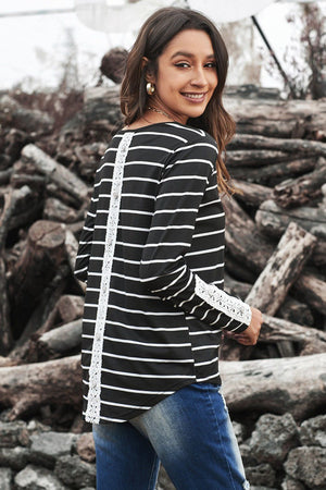 Black Striped Long Sleeve Top with Lace Button Detail