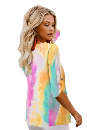 Multicolor V-neck Long Sleeve Tie-dye Blouse With Buttons Closure