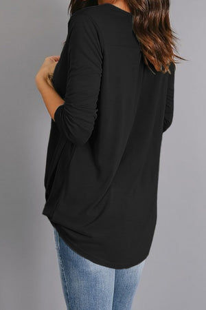 Black Wrap Hi-lo Hem Blouse