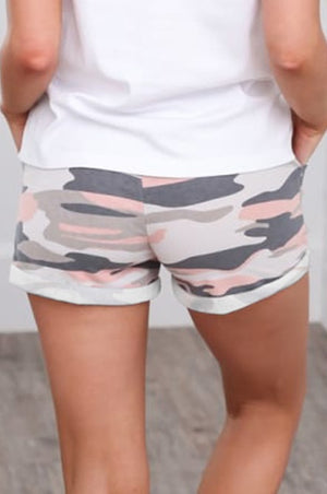 Multicolor Camo Print Cotton Casual Shorts