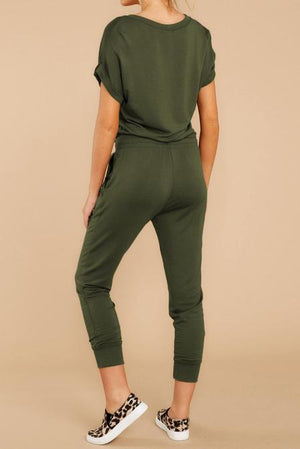 Army Green V Neck Wrap Front Jumpsuits