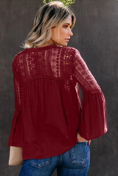 Burgundy The Du Jour Crochet Blouse