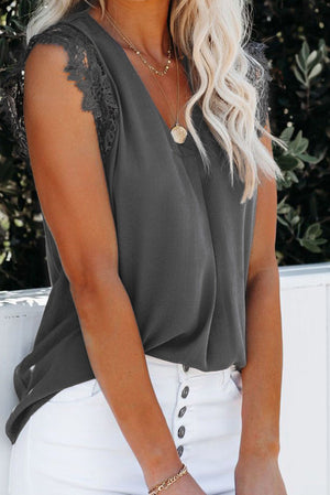Grey Sleeveless Crochet Lace Blouse