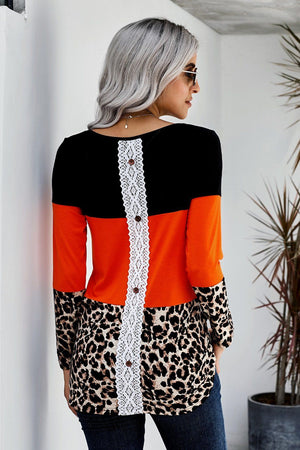 Orange Colorblock Leopard Triple Patchwork Long Sleeve Top